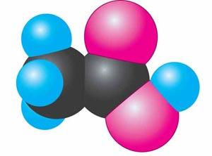 Масштабна модель молекули оцтової кислоти
