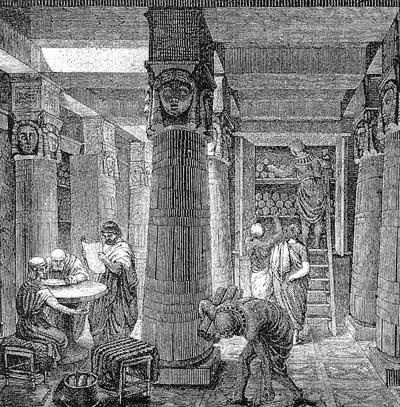 Александрійська бібліотека, гравюра, 19 ст.