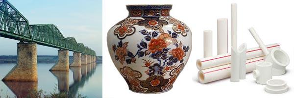 Різні тіла: цегляні підпори мосту, керамічна ваза, пластмасові вироби