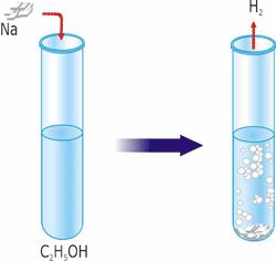 Взаємодія етанолу з металічним натрієм.