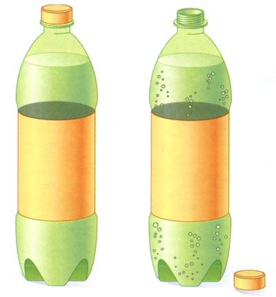 відкрити пляшку з газованою водою, тиск у ній зменшиться і почне виділятися газ